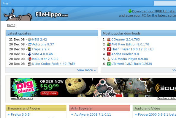 A portion of File Hippo's home page